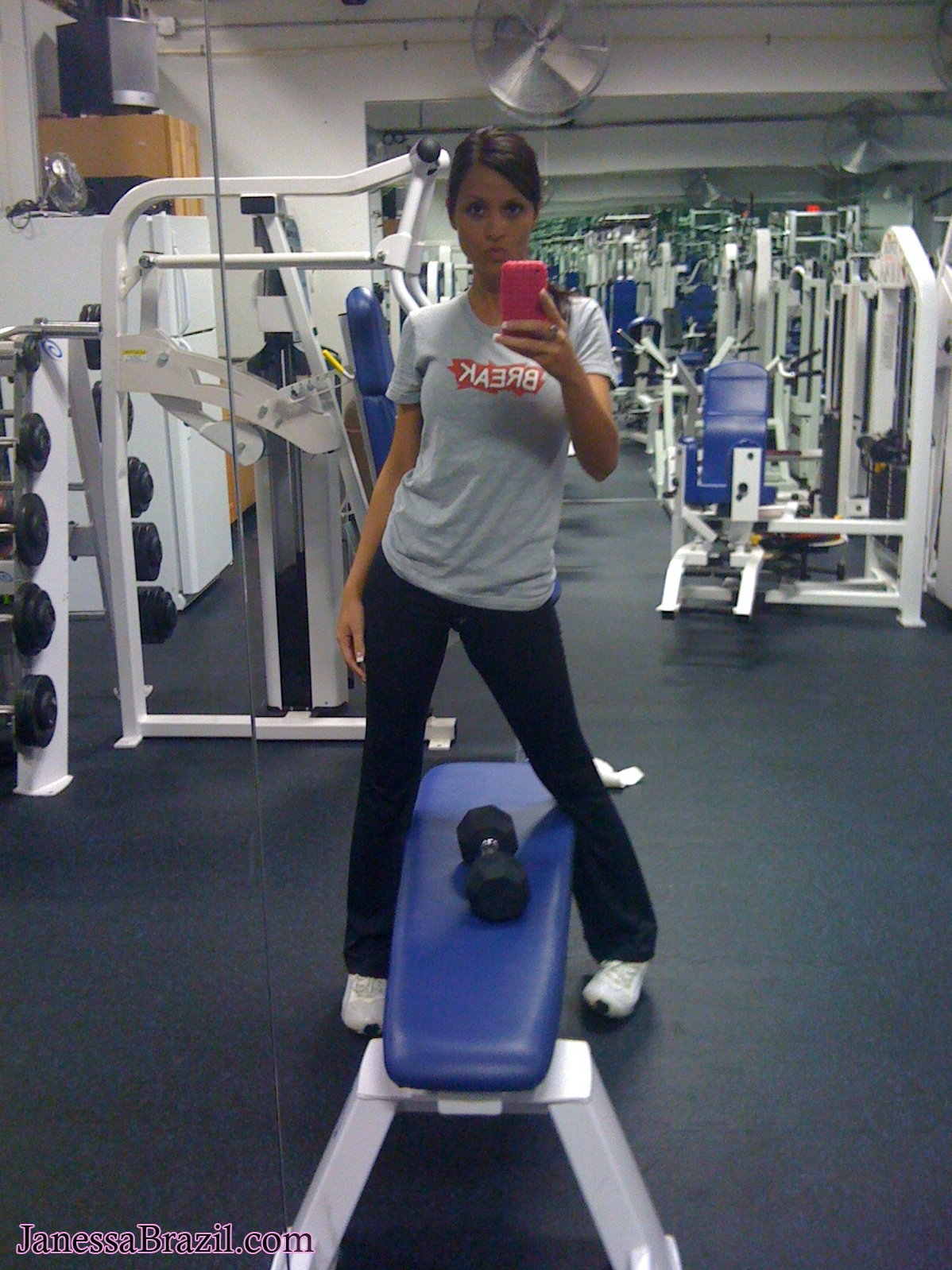 Janessa Brazil Working Out with her Iphone 1