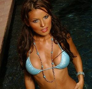 MariPossa looking hot in a tiny blue bikini